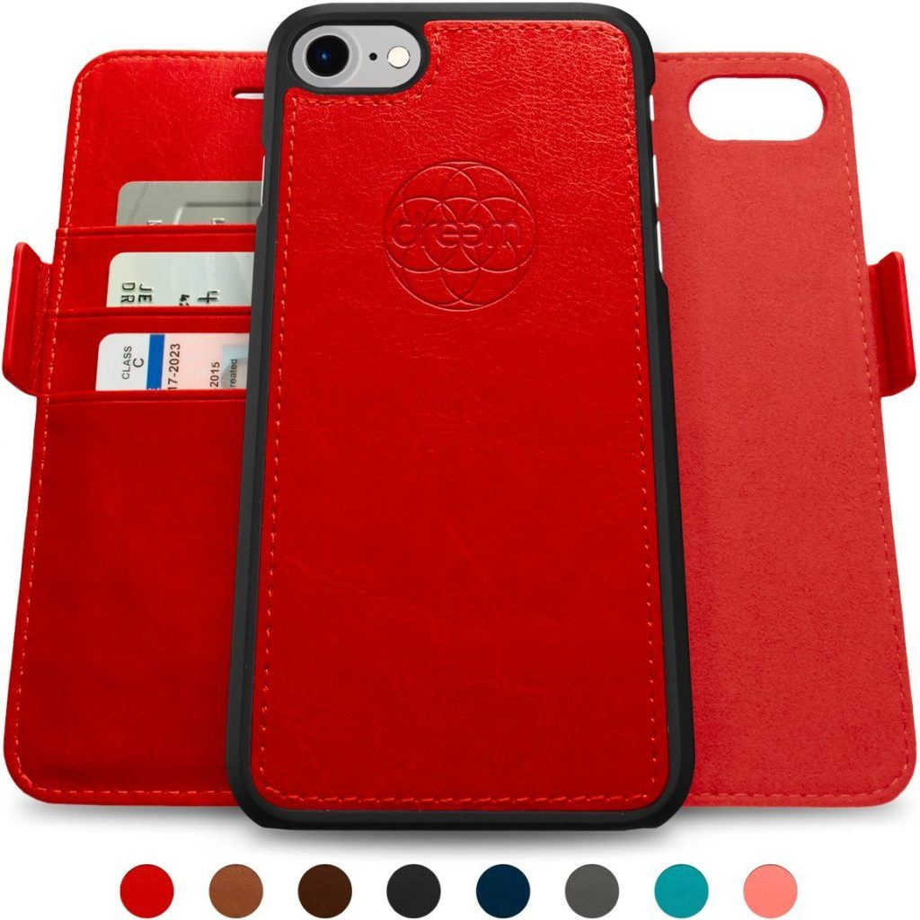 Dreem Wallet Case with Detachable SlimCase Faux Leather and 8 Color Choices